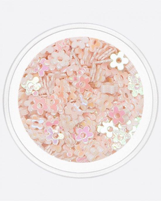 Цветочек с дыркой бледно-розовый перламутр