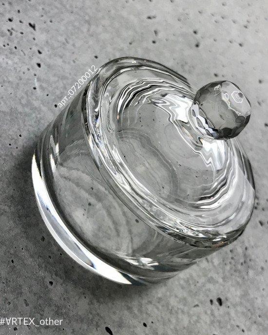 Стаканчик с крышкой стеклянный, круг 60мм