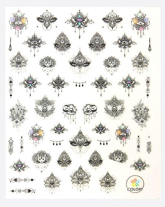Наклейки, цветы этно 359