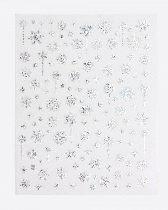 Наклейки,  снежинки голограмма серебро 375