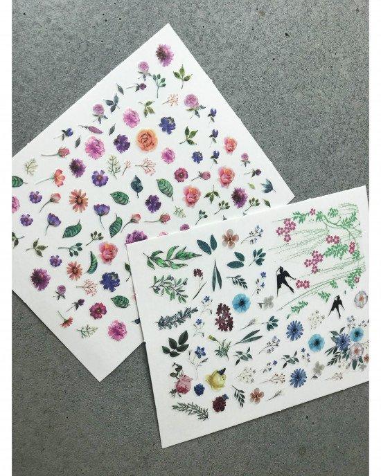 Наклейки, цветы и ласточки 383